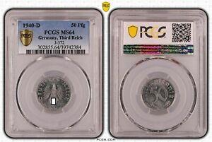 Drittes Reich 50 Pfennig 1940 D fast Stempelglanz PCGS MS64 51461