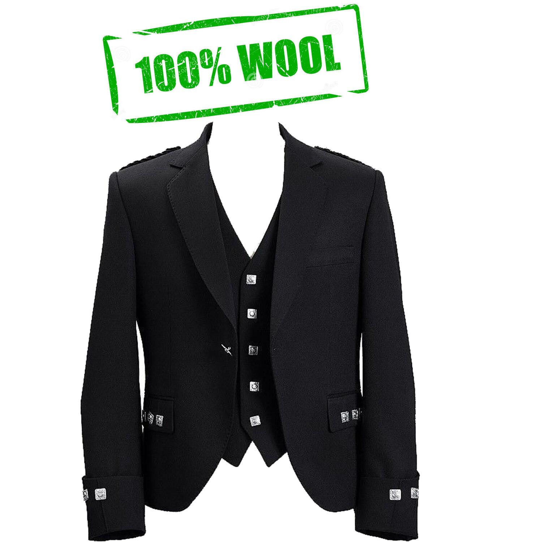 100% Wool Scotish Argyle Kilt Jacket With Free waiscoat Party dress Weding dress