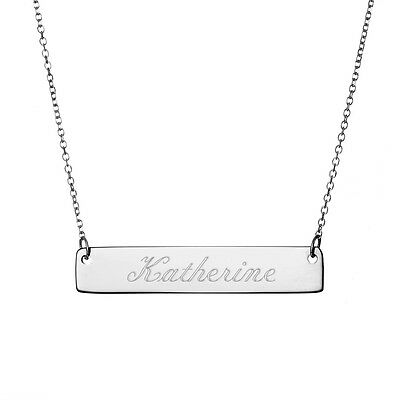 Sterling Silver Personalised Name Bar Necklace