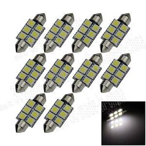 10X-White-36MM-6-5050-Festoon-Dome-Map-Interior-LED-Light-Lamp-Roof-Bulb-I104
