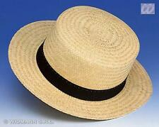 Deluxe Chevalier Straw Hat Boater St Trinians With Black Ribbon Fancy Dress