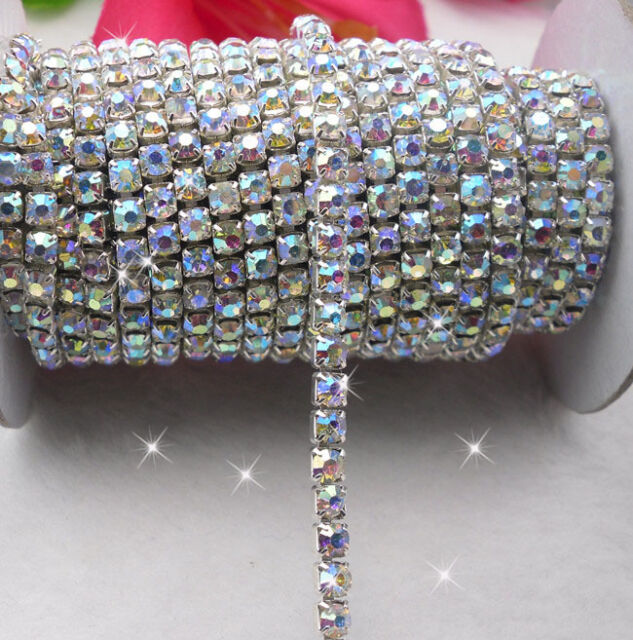 clear AB crystal glass rhinestones compact close silver cup chain trims Applique