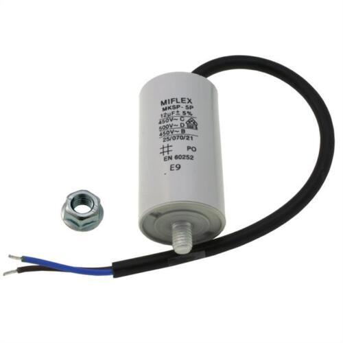 Condensador de motor 12µF 450V 35x65mm Cable M8 ; Miflex ; 12uF