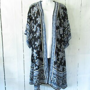 New-Angie-Kimono-M-Medium-Black-Blue-Floral-Boho-Peasant