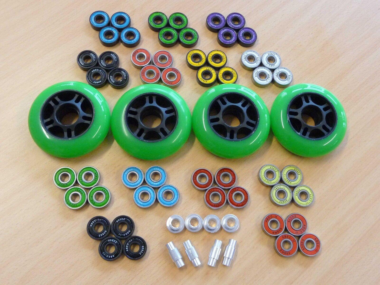 NEU   8x Wheel 80mm/84A-grün + 16x Lager ABEC11 + 8x AluSpacer   NEU
