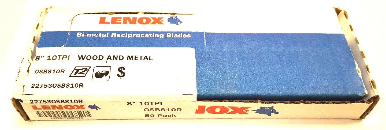Lenox 810R 8  x 10 TPI Bi-Metal Reciprocating Saw Blade 50 Pack