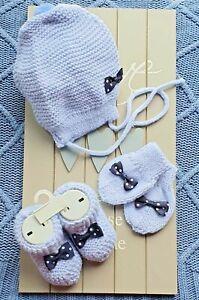 Baby Hat Mitten & Booties Gift Set 3 Piece 0-3 Months Blue Pink White Handmade
