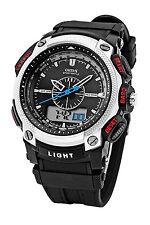 A1 OHSEN Digitale LCD Alarm Datum Maenner Sport Gummi Uhr silber