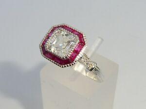 Damen-Halo-Design-925-Silber-Asscher-Cut-White-Sapphire-amp-Ruby-Ring