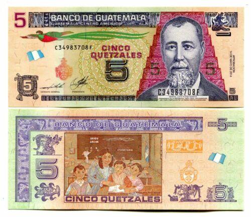GUATEMALA 5 QUETZALES P-NEW 2014 UNC PAPER BUNDLE 100 PCS