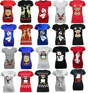 Ladies-womens-Xmas-Rudolf-Glitter-Red-Nose-t-shirt-plus-sizes-8-26-26-28-30