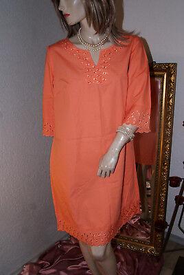 Discreto Lucido Ricamato Sottoveste Notte Vestito Abito Cotone Arancione 40- In Corto Rifornimento
