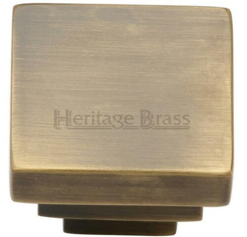Heritage Brass C3672-AT Square Stepped cabinet draw Knob ANTIQUE BRASS 3.2cm H