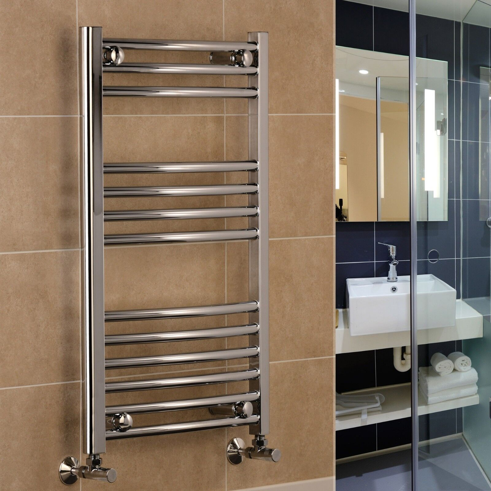 Chrome Curved Heated Towel Rail Towel Warmer 400mm 500mm 600mm wide