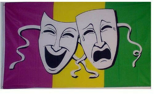 Comedy /& Tragedy Large Flag 5 x 3 FT 100/% Polyester With Eyelets Masks Theatre