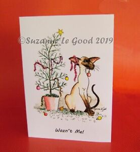 Siamese-Cat-Christmas-cards-tree-6-pack-original-painting-by-Suzanne-Le-Good