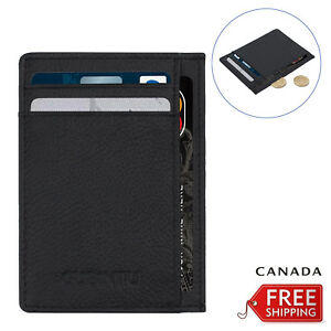 6 Card Slots Money Pouch Slim Wallet For Men Leather opal Card Holder CA NEW