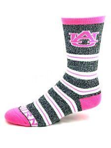 Auburn-Tigers-For-Bare-Feet-Gray-and-Pink-Melange-Stripe-Crew-Socks