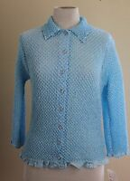 Bala Bala Aqua Blue Funky Crinkled Fiber Art Jacket Topper Cardigan Top Sz M