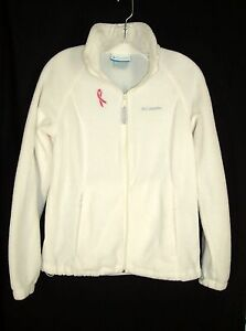 cfc484430 Details about Columbia Fleece Jacket M Pink Ribbon Ivory Full Zip Breast  Cancer Awareness