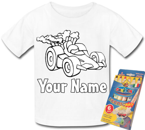 RACING CAR PERSONALISED COLOUR IN YOUR OWN T-SHIRT *FUN ACTIVITY /& A NAMED GIFT*