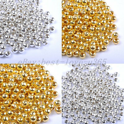 Gold & SILVER PLATED Round SPACER BEAD - Choose 2.4MM 3.2MM 4MM 5MM 6MM 8MM 10MM