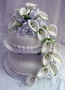 WEDDING CAKE TOPPER LUXURY CALLA LILY WITH DIAMANTES EBay - Calla Lilly Wedding Cake