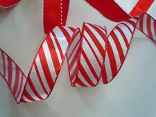 5yds Red White Candy Canes Peppermint Wired Ribbon Christmas Wreath Party Decor