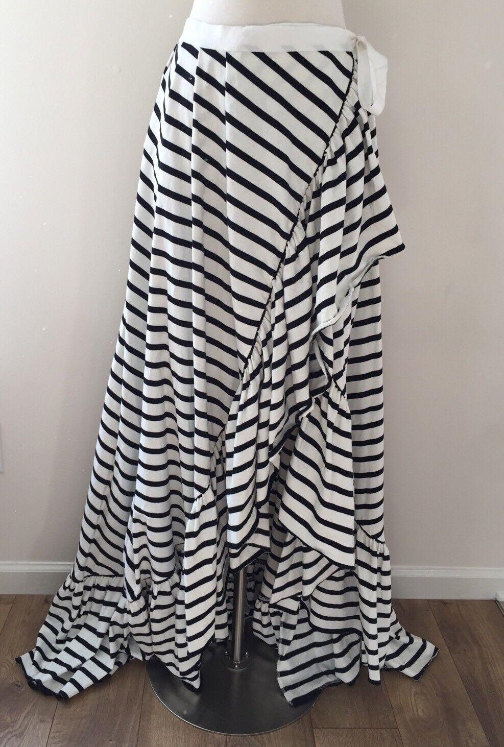 New Jcrew Striped Ruffle High Low Wrap Skirt Tie Front Dramatic Ruffle XS S