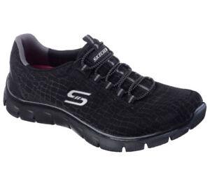 Nuevo-senora-Skechers-sneakers-zapatillas-memory-foam-Empire-rock-around-negro