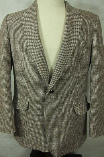 VINTAGE Chris Dawes Harris Tweed Country Wear Brown Sport Coat England 40R