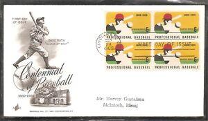 US Scott # 1381 Professional Baseball  FDC. Artcraft cachet
