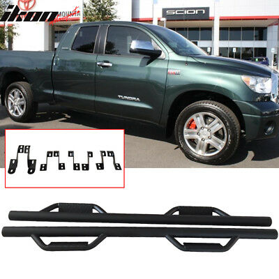 """For 07-17 Toyota Tundra Side Step Nerf Bar Double Cab 4 Door Black 3/"""" Round Crew"""