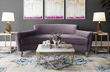 Horchow Style Gray Velvet Mid Century Glam Curved Sofa Loveseat Settee Modern
