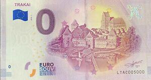 BILLET-0-EURO-TRAKAI-LITUANIE-2018-NUMERO-5000-DERNIER-BILLET