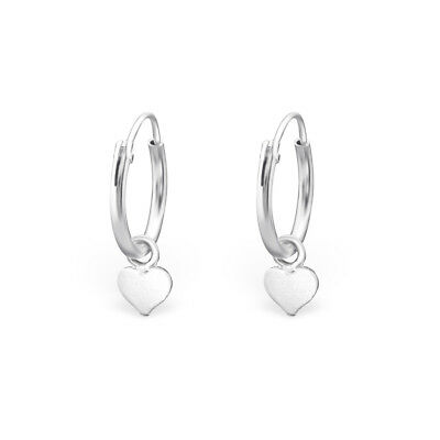 Gift Boxed Girls Ladies 925 Sterling Silver Heart Ear Hoops