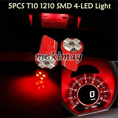 5 Pieces Replacement 501 T10 1210 4 LED Red LED Panel Cluster Dash Lights W5W
