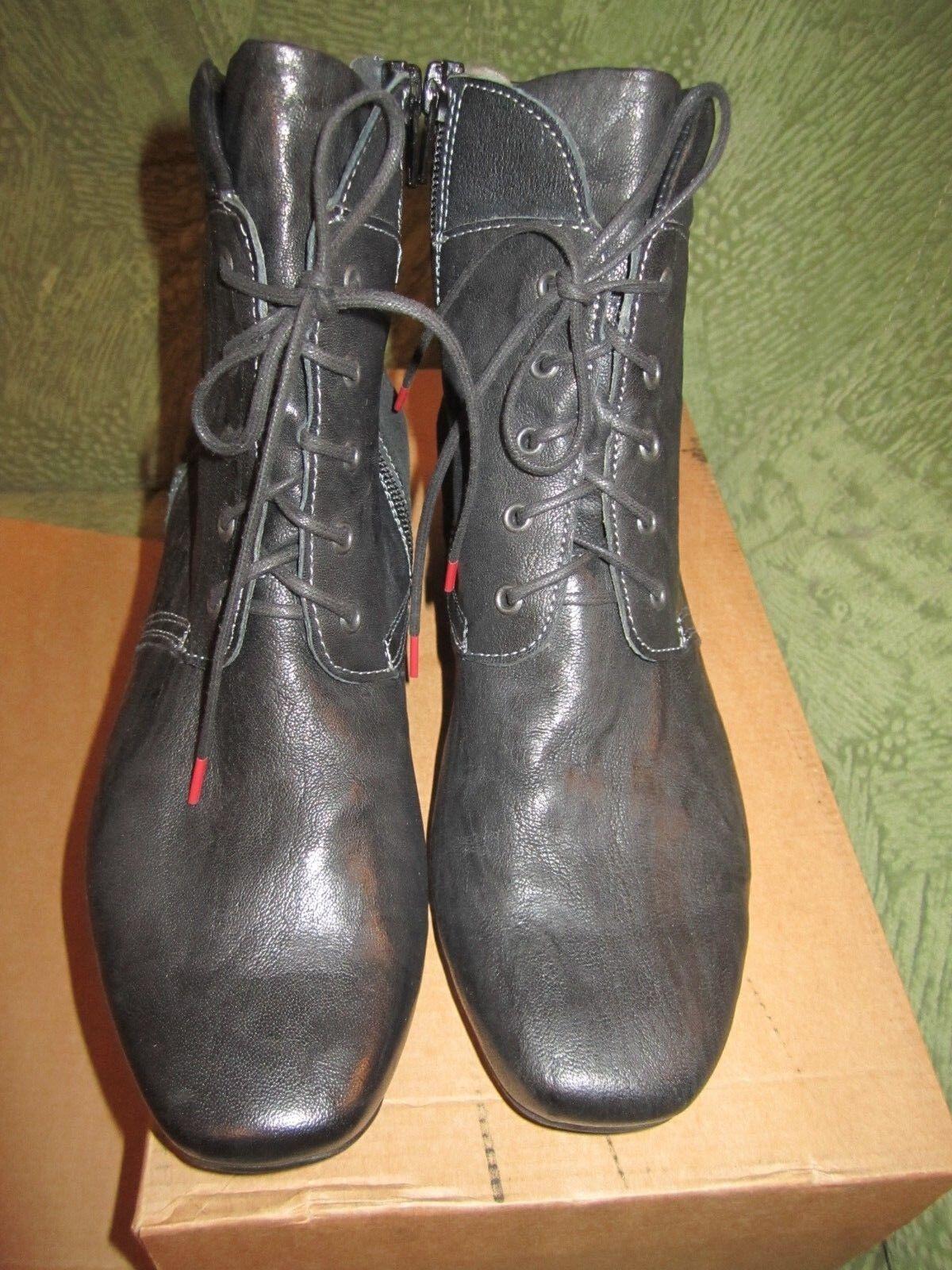 THINK Damen Leder Schnür Stiefelette  Stiefel Schuhe schuhe Schwarz Gr.37 NP 170,00