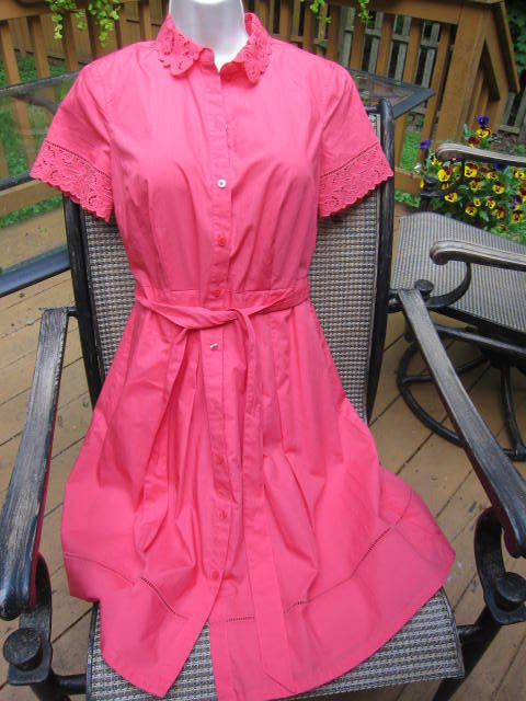 NWT  TALBOTS Coral Cotton Short Sleeve Button Down Belted Dress4PCutwork