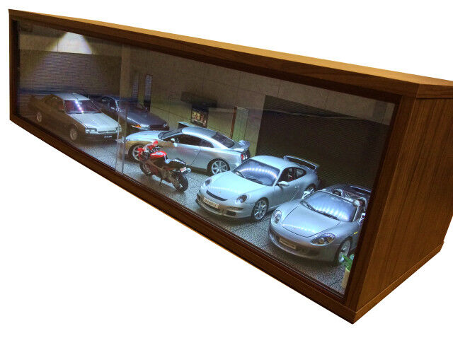 1 18 1 18 SCALE DIORAMA GARAGE DISPLAY ACRYLIC CASE W  LED LIGHT fatto IN JAPAN ③