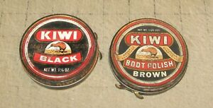 2-Vintage-KIWI-BOOT-POLISH-TINS-33c-amp-39c-Factory-Priced-1960-039-s-Black-Brown