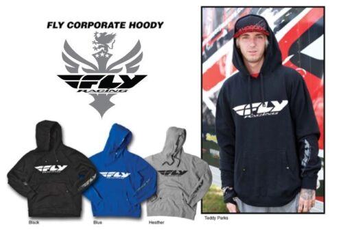 FLY RACING Corporate Hooded Heather Sweat Shirt Hoodie BMX Racing Honda Suzuki