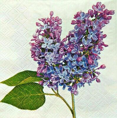 4X Pcs Paper Design Napkins Decoupage Craft Tissue Spring  Flowers Lila Lilac