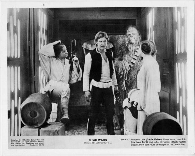 Star Wars 1977•Princess Leia, Chewbacca, Han Solo, Luke Skywalker discuss escape