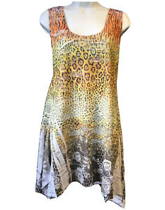 Fantazia Ripped Tunic Sun Dress Artistic Animal Print Beach Boho Summer Uk 12 Ebay