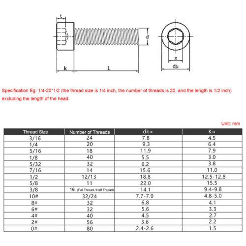 UNC 304 A2 Stainless Allen Bolts Hex Socket Head Cap Screw 1//4-20 3//8-16 5//16-18