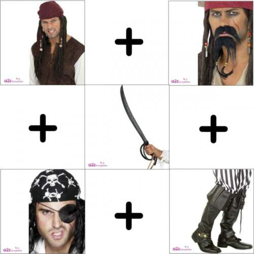 EYEPATCH BOOTCOVERS SWORD BEARD Mens Deluxe Pirate Accessory  WIG TASH