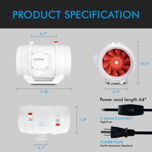 """Inline Duct Fan 4/"""" 6/"""" 8/"""" Inch 165//325//500 CFM Exhaust Fan Low//High Lumo-X"""