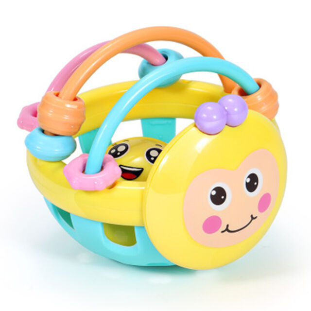 Rubber Cartoon Bee Hand Soft Bell Rattle Toy Infant Baby Early Educational Toys