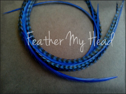 """10 Pc Feather Hair Extension 7/""""-9 /"""" Long 18-23cm Solid Mix Grizzly Stripe"""